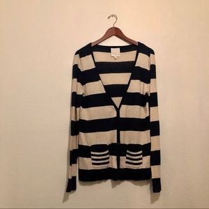 Olive & Oak Navy Blue Tan Striped Cardigan